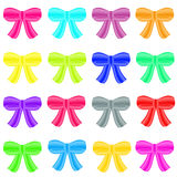 Set of ribbon bows - all colors collection. Set of ribbon bows isotated on white background. Red pink blue gold yellow orange purple grey violet green bows. Clip Stock Images
