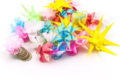 Set ribbon folded into a flower. Wrap coins by hand. I worked fo Stock Image