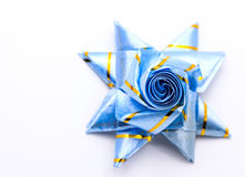 Set ribbon folded into a flower. Wrap coins by hand. For the sac Stock Image