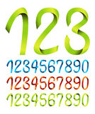 Set of ribbon numbers Stock Images