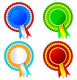 Set of ribbon rosette awards Royalty Free Stock Images