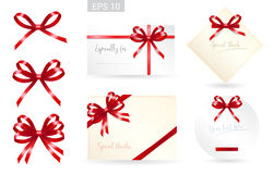 Set of ribbon tied bows in vector format for gift card, greeting card stock illustration