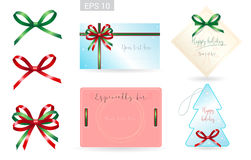 Set of ribbon tied bows in vector format for gift card, greeting card vector illustration
