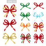 Set of ribbon tied bows in vector format for gift card, greeting royalty free illustration
