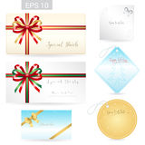 Set of ribbon tied bows in vector format for gift card, greeting. Card or thank you card and other decoration royalty free illustration