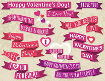 A set of ribbon valentines design, vector Royalty Free Stock Image
