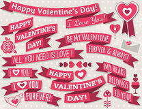 Set of ribbon valentines design, vector Royalty Free Stock Photos