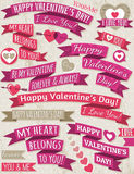 Set of ribbon valentines design, vector Stock Photos