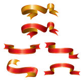 Set of ribbons. Vector illustration - a set of red and gold tapes with stripes royalty free illustration