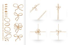 Set of ribbons, bows with rope and twines Royalty Free Stock Photos