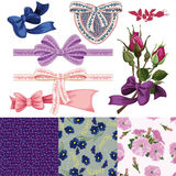 Set of the ribbons with bows, the rose Royalty Free Stock Photo