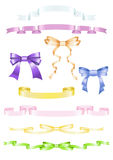 Set of ribbons and bows. Set of satin ribbons and bows stock illustration