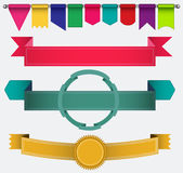 Set of ribbons and flags Stock Photography