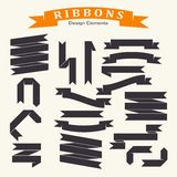 Set of ribbons in flat style. Elements rof desing. Royalty Free Stock Photography