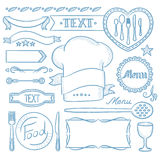 Set of ribbons, frames for restaurant menu. Royalty Free Stock Photography