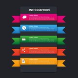 Set of ribbons. Infographic design,5 options Stock Images