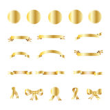 Set of gold ribbons banners, labels and bow tie icons sign isolated vector. Set of gold ribbons banners golden labels and bow tie isolated on white background stock illustration