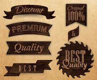 Set of ribbons and labels dark brown color. Stock Images