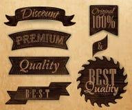 Set of ribbons and labels dark brown color. Set of ribbons and labels with text quality and best, premium dark brown color Stock Images