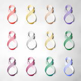 Set of ribbons for 8 March. International Womens Day. Vector icons Royalty Free Stock Photos