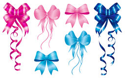 Set of ribbons for the new baby born. Staple birth to new baby born, set of ribbons in pink and light-blue Stock Image
