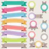Set of ribbons and stamps. Royalty Free Stock Photos