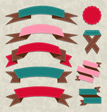Set ribbons, vintage labels, geometric emblems Stock Photography