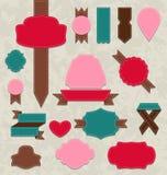Set ribbons, vintage labels, geometric emblems Royalty Free Stock Images