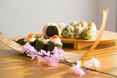 Set of Rice Ball Onigiri is a typical meal in Japan. Japanese people grab some rice into balls with a shape of triangul in Tokyo, Japan Stock Photography