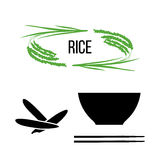Set of rice plants and bowl with long-grained rice and chopsticks. On white. Flat cartoon icons. For culinary, cafe, fastfood, shop, restaurant. Can be used as stock illustration
