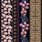 Set of rich retro lace borders with bohemian motifs. Royalty Free Stock Images