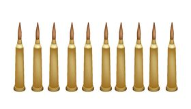 Set of Rifle Bullets on White Background. Gun Accessory, An Illustration Collection of Ten Rifle Bullets or Ammunition for Rifle and Machine Gun Isolated on royalty free illustration
