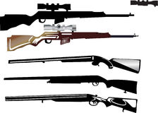 Set of rifles on white Stock Image