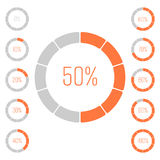 Set of ring pie charts with percentage value. Performance analysis in percent. Modern vector grey-orange infographic Royalty Free Stock Photography