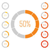 Set of ring pie charts with percentage value. Performance analysis in percent. Modern vector grey-orange infographic Royalty Free Stock Photo