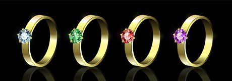 Set of rings with colored gems on black background vector illustration