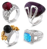 Set of rings with gems. On white Stock Image