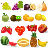 Set ripe fruit and berries on white Royalty Free Stock Photo