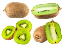 Set of Kiwifruits isolated on white background. Set of ripe Kiwifruits isolated on white background Royalty Free Stock Images