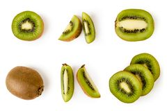 Set of ripe kiwis, halves and pieces in different angles on a white. The view from the top. stock images