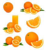 Set ripe orange fruits with green leaves (isolated) Royalty Free Stock Photo