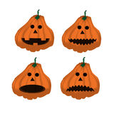 Set of ripe orange pumpkins on Halloween 2. Royalty Free Stock Image