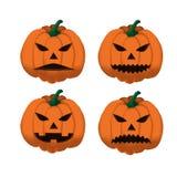 Set of ripe orange pumpkins on Halloween 3. Stock Photos