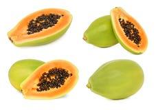 Set ripe papaya (isolated) Royalty Free Stock Image
