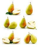 Set of Ripe Pear Fruits Isolated on White Stock Images