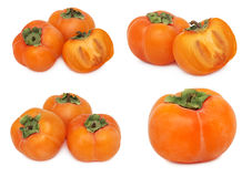 Set ripe persimmons (isolated) Royalty Free Stock Photo