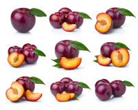 Set ripe plum fruits with green leaves isolated on white. Background royalty free stock photo