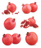 Set of ripe pomegranate fruits Royalty Free Stock Photo