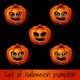 Set of ripe pumpkin with eyes and mouth, Jack-o-Lanterns. Attribute of the holiday of Halloween. Sketch for holiday. Cards, posters or invitations to the party Royalty Free Stock Image