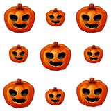 Set of ripe pumpkin with eyes and mouth, Jack-o-Lanterns. Attribute of the holiday of Halloween. Sketch for holiday. Cards, posters or invitations to the party Royalty Free Stock Photos